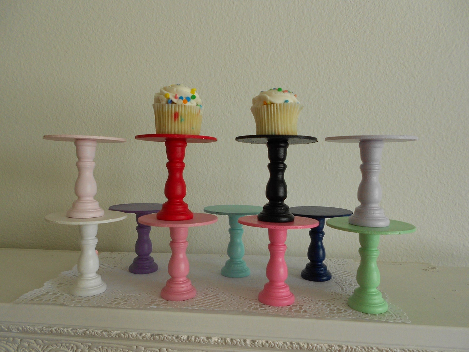 Set Of 6 Mini Wooden Cupcake Stands Pedestals Or Cake Pop