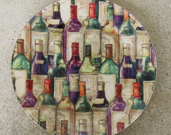 Decoupage Plate Wine Bottles