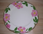 Franciscan Desert Rose Dinner Plate 10 1/2 inch Franciscan Ware Vintage California hand painted floral pink roses