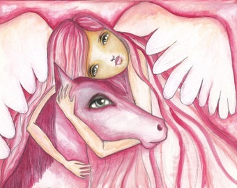 The Angel and the Horse - Fine Art Print