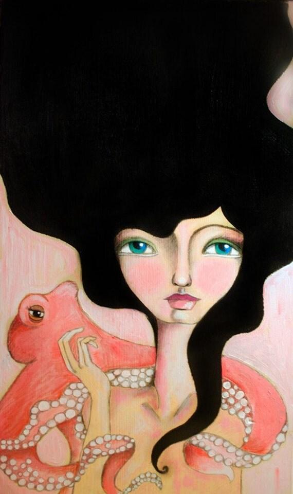 Girl and Octopus - Art Print