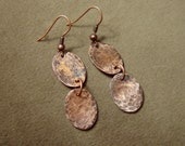 Hammered Copper Oval Disc Earrings