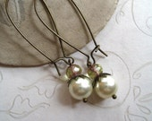 Pretty pearl earrings, long brass ear wires,bronze