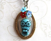Little owl necklace, turquoise blue, engraved brass ring - Last one!