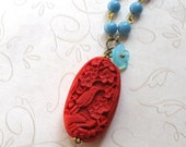 Red cinnabar necklace, boho style - turquoise blue beads, red cinnabar bead