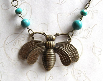 Vintage style bee necklace, large brass pendant, turquoise beads, brass chain, nature inspired, honey bee