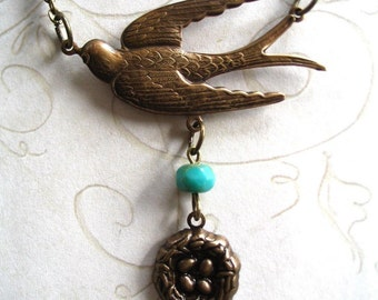 Bird nest necklace  - antiqued brass bird charm with turquoise bead