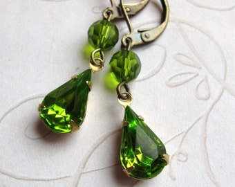 Green jewel earrings, holiday gift, vintage faceted glass, estate style drops, peridot green