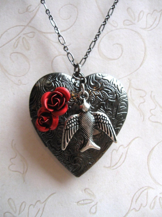 Gunmetal Heart Locket Necklace, long chain