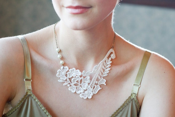 Lace Necklace - ivory - glass pearls - wedding - bridal jewelry