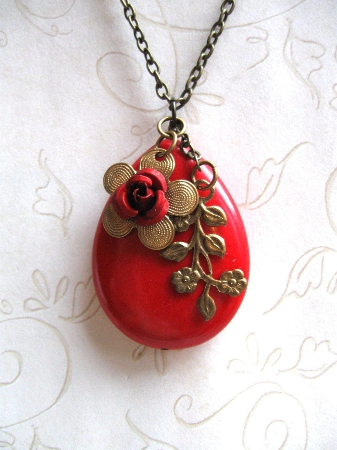Red Flower Necklace Free Shipping
