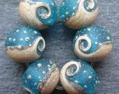 Lampwork beads 103 Rounds (6) Ocean Waves, Sea, Water