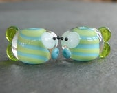 Lampwork beads 797 Fish Pair (2) Lime Green and Turquoise