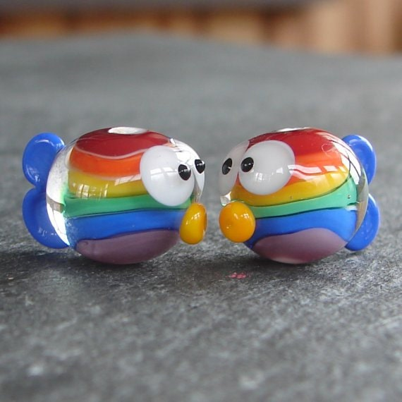Lampwork beads 304 Fish Pair (2) Rainbow Fish