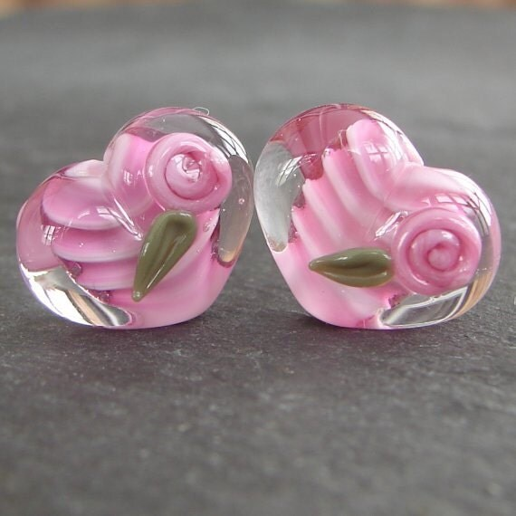 Lampwork beads 967 Hearts Pair (2) Pink  with Roses