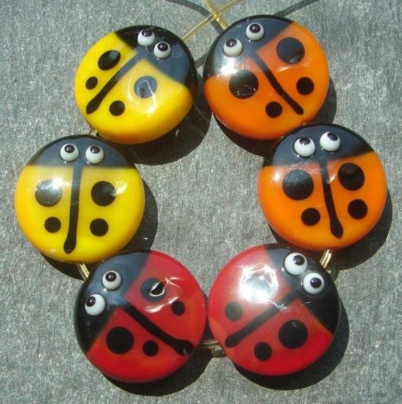 Lampwork beads 661 Sprees (6) Ladybug Pairs