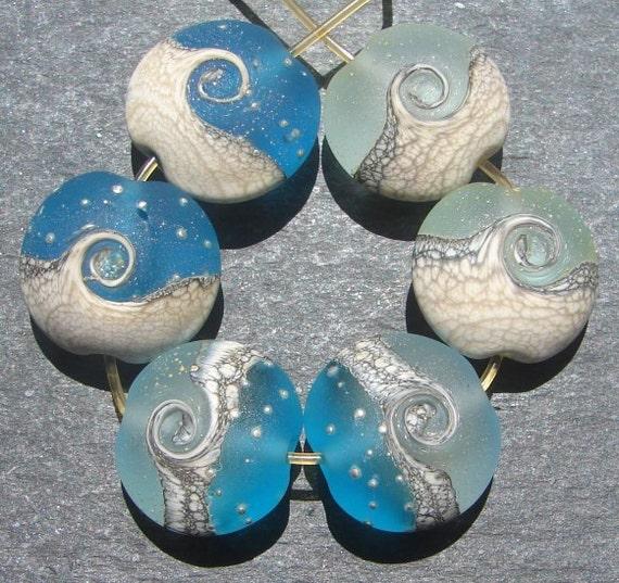 Lampwork beads 890 Lentils (6) Ocean Waves, Sea, Water