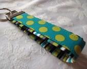 Fabric Key Fobs -  Fabric Keychain - Key Wristlet - Key Fob - Lagoon Dots