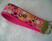 "Custom Designer Fabric Key Fobs, Key Chains, Wristlet - ""BUBBLEGUM HOT DOTS""- Ginger Snappz (Free Shipping)"