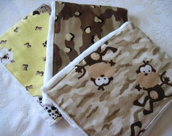 MONKEY N PUPS Burp Cloth Set -- Colorful, Absorbent, and So Stylish - Ready To Ship