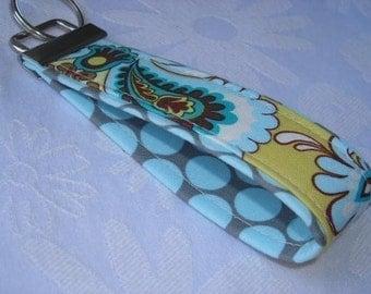 Fabric Key Fobs -  Fabric Keychain - Key Wristlet - Key Fob - Yellow French Belle