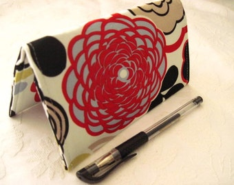 """Designer Fabric Checkbook Covers/Coupon Holders - """"RED N BLUE Mocca"""""""