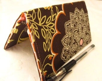 """Limited Edition - Designer Fabric Checkbook Covers/Coupon Holders - """"OLIVE LACEWORK"""""""
