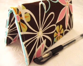 """Designer Fabric Checkbook Covers/Coupon Holders - """"DAISY DREAMS"""""""
