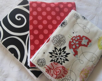Red Starling Burp Cloth Set -- Colorful, Absorbent, and So Stylish