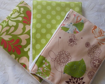Peach Starling Burp Cloth Set -- Colorful, Absorbent, and So Stylish