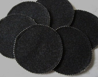 Organic Nursing Pads - BLACK - Heavy Flow  Ultra Absorbent  - 6 Pads