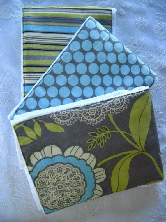 Ginger Snappz Burp Cloth Set - Gray Lacework -  Colorful, Absorbent, and So Stylish - See Shop for MORE Yummy Designs