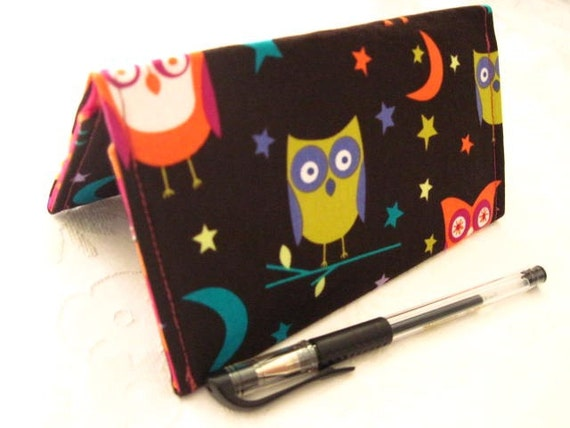 """Designer Fabric Checkbook Covers/Coupon Holders - """"NIGHT OWL"""" (Free Shipping)"""