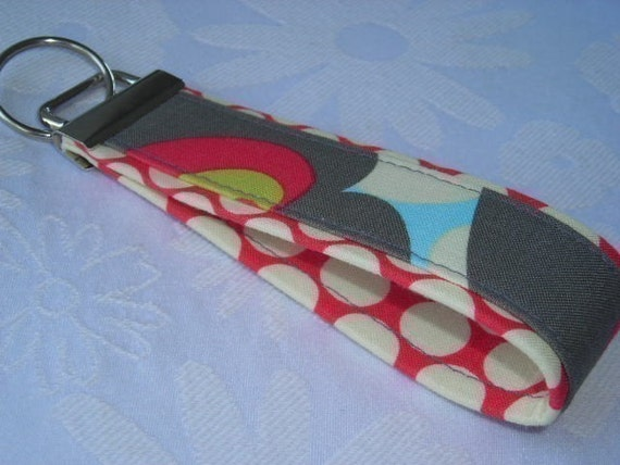 Fabric Key Fobs -  Fabric Keychain - Key Wristlet - Key Fob - Linen Morning Glory