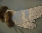 Glamourous Vintage Silver Satin Gloves with Rhinestone Button, Fur Trim