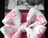 Cute ballet slipper bow, pink, white small hairbow hair bow