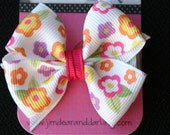 Cute Flower Print Small Classic Toddler Hair bow with No Slip Grip