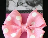 Small Toddler Boutique Hairbows White Dots Custom Color Choice