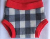 Gray/White Plaid Fleece Diaper Cover