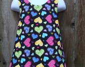 Pinafore Size 12M --- Scattered Hearts (reversible) Pinafore (((ready to ship)))