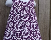 Reversible Pinafore --- Purple Floral Damask