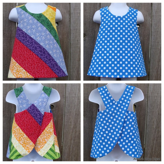Reserved for Emily --- 2 Rainbow Reversible Pinafores --- Size 2T
