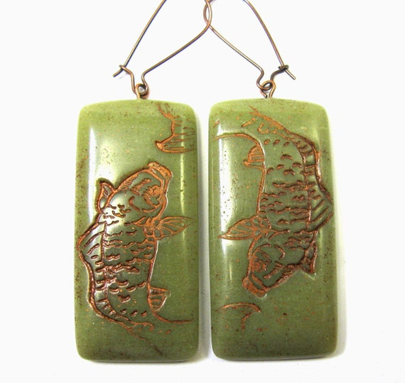 Faux Burma Jade Copper Etched Koi Polymer Clay Earrings