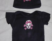 Black Girls Beanie Shirt set with Skull Patch