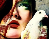 Fine Art Print, Giclee Archival Print, Photomontage, Collage, Painted Photographs, The Warrior and the Dove.