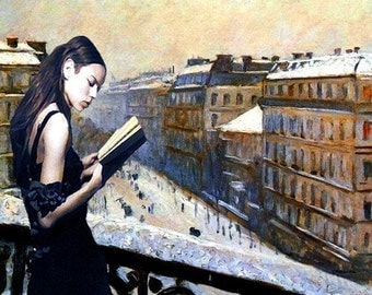 Reading Gustave Caillebotte....8.5 x 11 limited edition archival print.