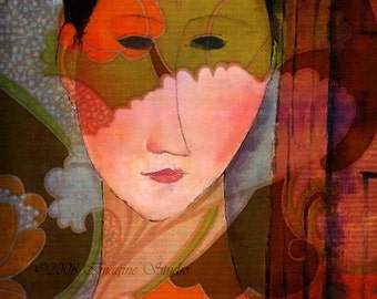 Woman With Mask of Flowers