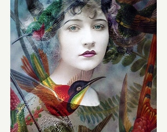 Fine Art Print, Giclee Archival Print, Photomontage, Collage, Painted Photographs, The Day of the Humming Birds