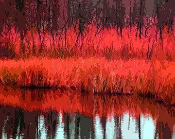 Giclee Print, Modern Art, Landscape, Autumn, Photograph, Photomontage, Collage, Lake, Modern Landscape, Wall Art, Home Decor