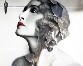 Photography, Portrait, Woman Portrait,  Fine Art Print, Giclee Archival Print, Photomontage, Collage, Painted Photographs, Home Decor